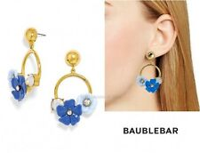 NEW $38 Baublebar Waikiki Drop Earrings Blue Gold-Tone Crystal