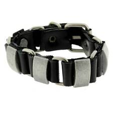 Black Leather Bracelet Wristband Silver Metal Hardware Linked w/ Buckle Biker