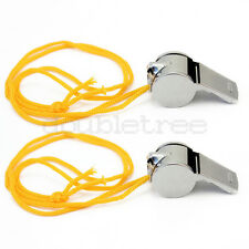 2Pc Sports Metal Referee Whistle Lanyard Emergency Survival w/ Black Neck String