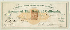 1871 US Check, Agency of the Bank of California w/ Double Revenue Imprint*