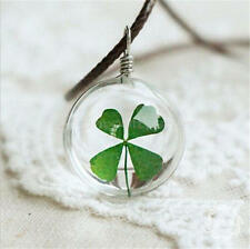 Real Green Lucky Shamrock Four Leaf Clover Round Pendant Necklace Friends Gift