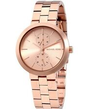 NWT Michael Kors Women's Garner Stainless Rose Gold Tone Watch MK6409 MSRP $225