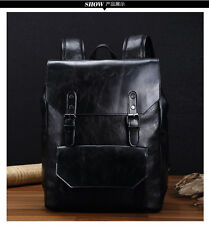 NEW stylish men leather zipper school backpack laptop travel bags rucksack
