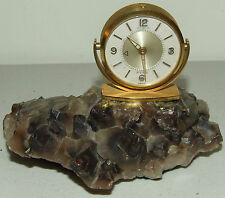 Vintage Jaeger LeCoultre Desk Clock with Rare Smoky Amethyst Quartz Crystal Base