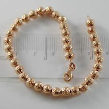 18K ROSE PINK GOLD BRACELET WITH FINELY WORKED SPHERES 5 MM BALLS MADE IN ITALY