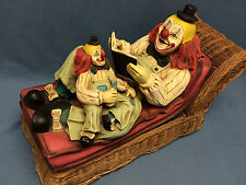 Clown on Sofa Reading Baby Wicker Couch Rare Figure Vintage Decorative Statue!