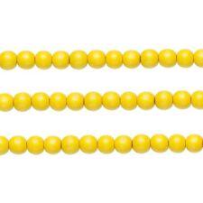 Wood Round Beads Dark Yellow 12mm 16 Inch Strand