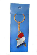 HOLLAND NETHERLANDS COUNTRY SHAPE FLAG METAL KEYCHAIN .. NEW