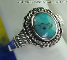 VINTAGE TURQUOISE Sterling Silver 0.925 Estate RING size 5.25