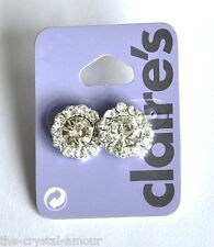 CLAIRE'S, ROUND DOUBLE CRYSTAL STUD EARRINGS 15mm