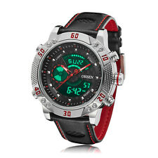 OHSEN Mens Chronograph Red Leather Digital Plated XXL Case Quartz Wrist Watches