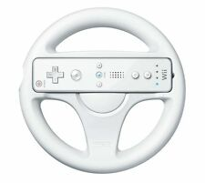 White Racing Game Steering Wheel Remote Controller compatible with Nintendo Wii
