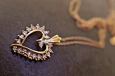 Vintage 10 k yellow gold necklace, heart shape pendant with chain,set w/diamonds