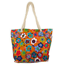 Lux Accessories Womens Extra Large Zip Up Beach Tote Bag Flower Pattern