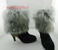 Boot Cuff Fluffy Furry Faux Fur Leg Warmers Toppers Imitation Wolf hair 15cm