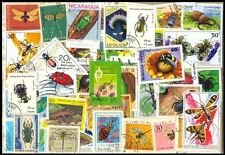 Insects On Stamps-50 Different Large-Worldwide Mixed Thematic Used Stamps