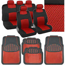 Red Car Seat Covers Floor Mats Set - Knit Mesh Accents w/ Metallic Rubber Mats