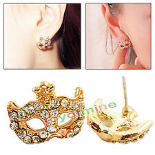 Women Fashion Unique Gold Diamond Earrings Mask Shape Stud Earrings