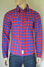 NEW Abercrombie & Fitch Railroad Notch Flannel Shirt Red & Blue Check Plaid M