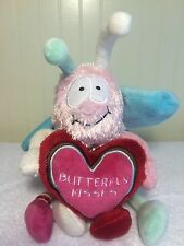 """Plush Animal Adventure Butterfly Kisses Soft Pink Red Hearts Stuffed Toy 13"""""""