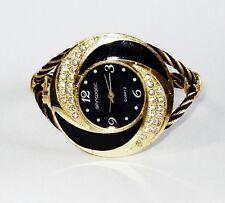 Beautiful Gold & Black Round Rhinestone Bangle Cuff Watch New