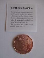 """5-Euro-Gedenkmünze, Österreich 2016, vz, Kupfer, """"Dürers Feldhase"""", Echtheits-Z."""