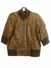 ATMOSPHERE LADIES BROWN FAUX LEATHER JACKET SIZE UK 16 EU 44 (D-96)