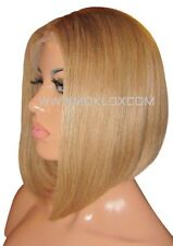 "Human Hair Blend Wig Front Lace 12"" Short Bob Straight Dark Blonde 27 180 Moklox"