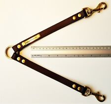 BIOTHANE TWIN DOG LEAD-DOUBLE DOG LEAD COUPLER LEASH VERY STRONG BROWN & BRASS