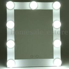 LED Bulb Vanity Lighted Hollywood Makeup Mirror with Dimmer Stage Beauty Silver