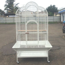 X-Large Parrot Aviary Bird Cage Perch Roof Budgie On Wheels 183cm White A23