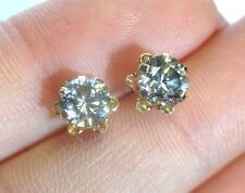 1.30 CTW Diamond Stud Earrings in 14K Yellow Gold Buttercup Settings