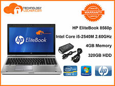 HP EliteBook 8560p Intel Core i5-2540M @2.60GHz 4GB Memory, 320GB HDD, Win 7
