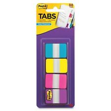 "Post-it 1"" Solid Color Self-stick Tabs - Write-on - 88 / Pack - Aqua, Yellow,"