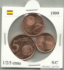 // 1 + 2 + 5 centimos euro España 1999 SC . euro cents spain \