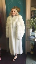 SAGA White Fox Fur Full Length Plush Coat Size 8, Made In Sweden