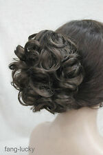 Dark Brown Short Curly Wavy claw clip Cute ponytail hair pieces wig TLF019
