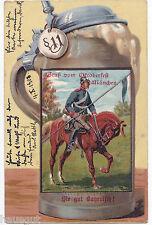 Gruss vom Oktoberfest München Soldat auf Pferd Kavallerie Bier Krug AK 1903