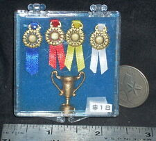 Dollhouse Miniature Gold Trophy & 4 Place Ribbons 1:12 #5008 Animal Show Horse