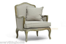 ANTIQUED FRENCH CHAIR CLASSIC ACCENT LOUNGE BEIGE-GRAY LINEN PILLOW INCLUDED