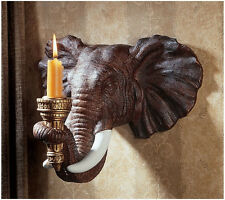 2 EXOTIC AFRICAN ELEPHANT CANDLE HOLDERS WALL SCONCE SCULPTURE ART DISPLAY LIGHT