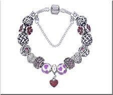 Bracelet Charms Européen perles émail et Cristal Plaqué Argent 19 cm Cadeau Noël