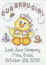 Cross Stitch Kit ~ Design Works Baby Chick Girl Birth Announcement #DW2896
