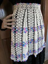Vintage Ecru and Multi-color Crocheted Apron