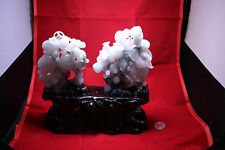 Chinese Carved Emerald Green Jadeite (Fei Cui) Jade 2 Pieces
