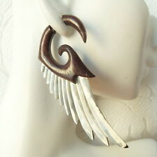 Angel Wings Shell Inlaid in Wood Fake Gauge Earrings Faux Plugs Boho Jewelry