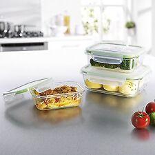Gourmetmaxx 06527 verre conteneurs de stockage avec couvercle   ensemble 3 pièces   ovenp... neuf