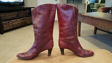 LALA by COLETTE Womens Red Burgundy Leather Boots Size 39.5/ 8-8.5