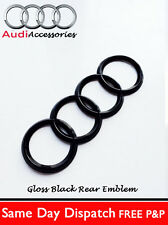 AUDI TT GLOSS BLACK  REAR BLACK RINGS BADGE TT LETTERS  BOOT 178x58mm
