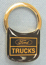 Vintage Goldtone FORD Trucks logo Padlock Keyring Key Fob Key Holder